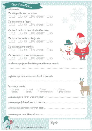 Lettre au père Noël à imprimer ( + Quiz sage/ Pas sage!)   Allo