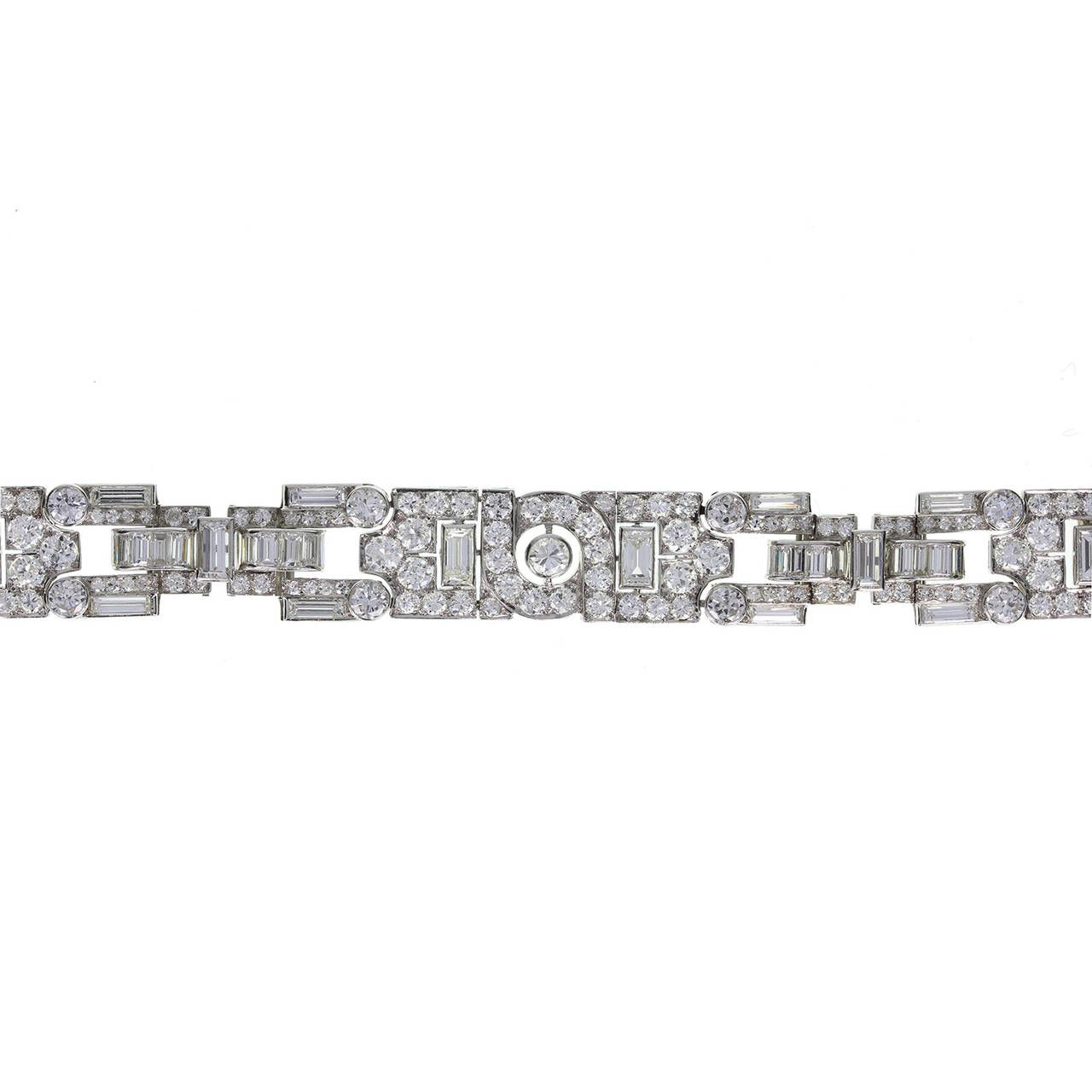 Garrard Art Deco Diamond Platinum Panel Bracelet | From a unique collection of vintage link bracelets at https://www.1stdibs.com/jewelry/bracelets/link-bracelets/