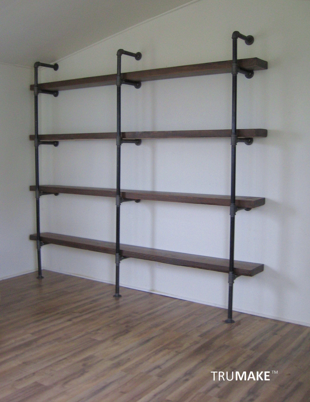 Industrial Wall Shelving Unit Book Shelf Shelving Unit Rustic Wood Shelf Pantry Shelving Home Office Shelving Wood Shelf In 2020 Wall Shelving Units Shelving Unit Pantry Shelving
