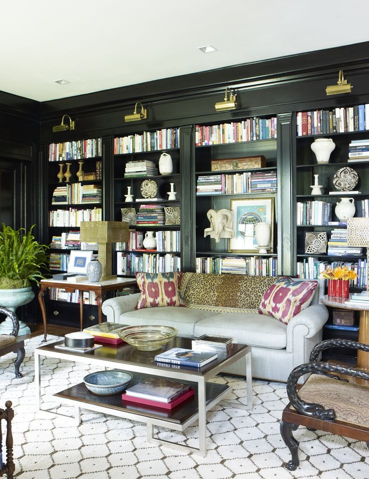 Living Room With Books: Dark Library With Light, Colorful And