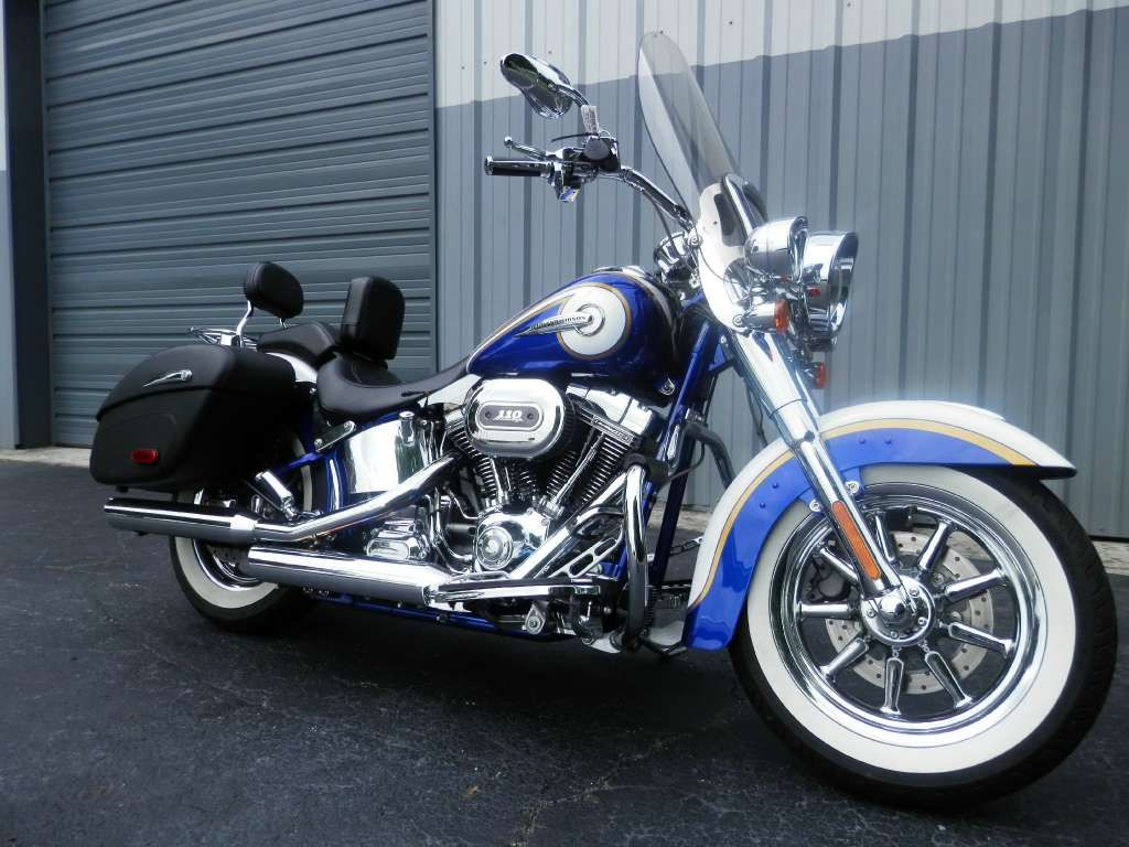 2014 h d cvo softail deluxe in candy cobalt and white gold pearl with airflow graphics available at harley davidson of greensboro