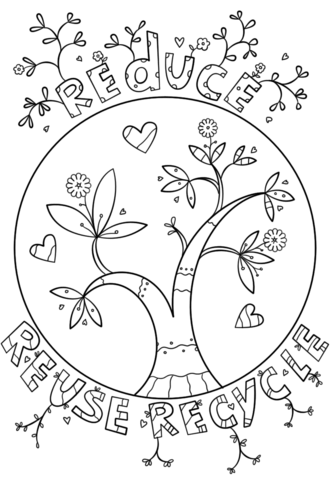 Reduce Reuse Recycle Doodle Coloring Page Earth Day Coloring Pages Earth Coloring Pages Coloring Pages