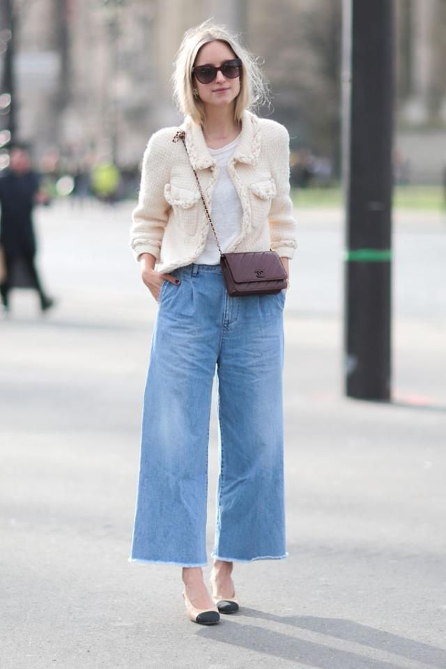4e73997047f196 How to Wear Trendy Denim Culottes Like a Fashion Expert: Wear Denim Culottes  to the Office - With a Jacket