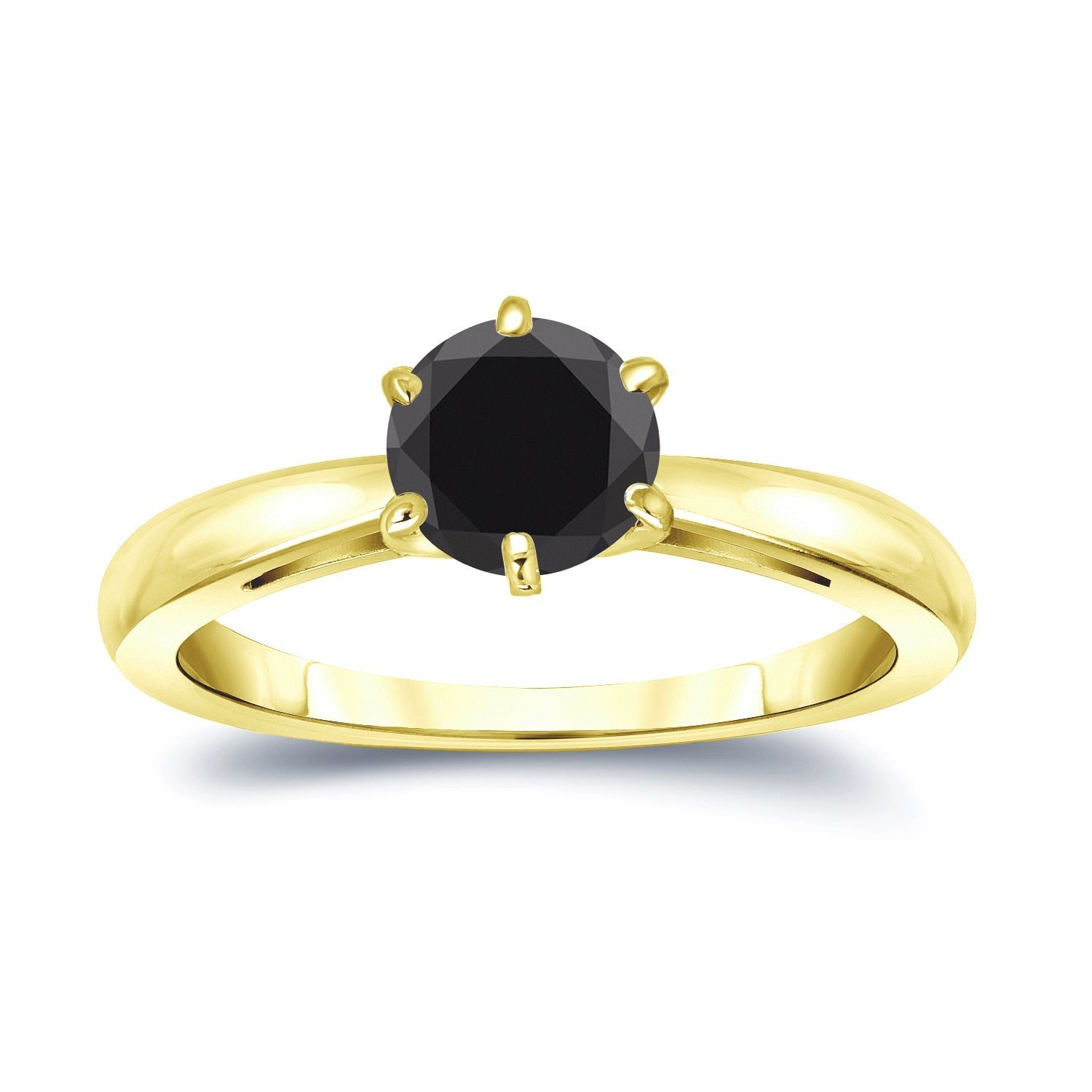 Auriya 14k Gold 1ct 6 Prong Round Cut Black Diamond Solitaire