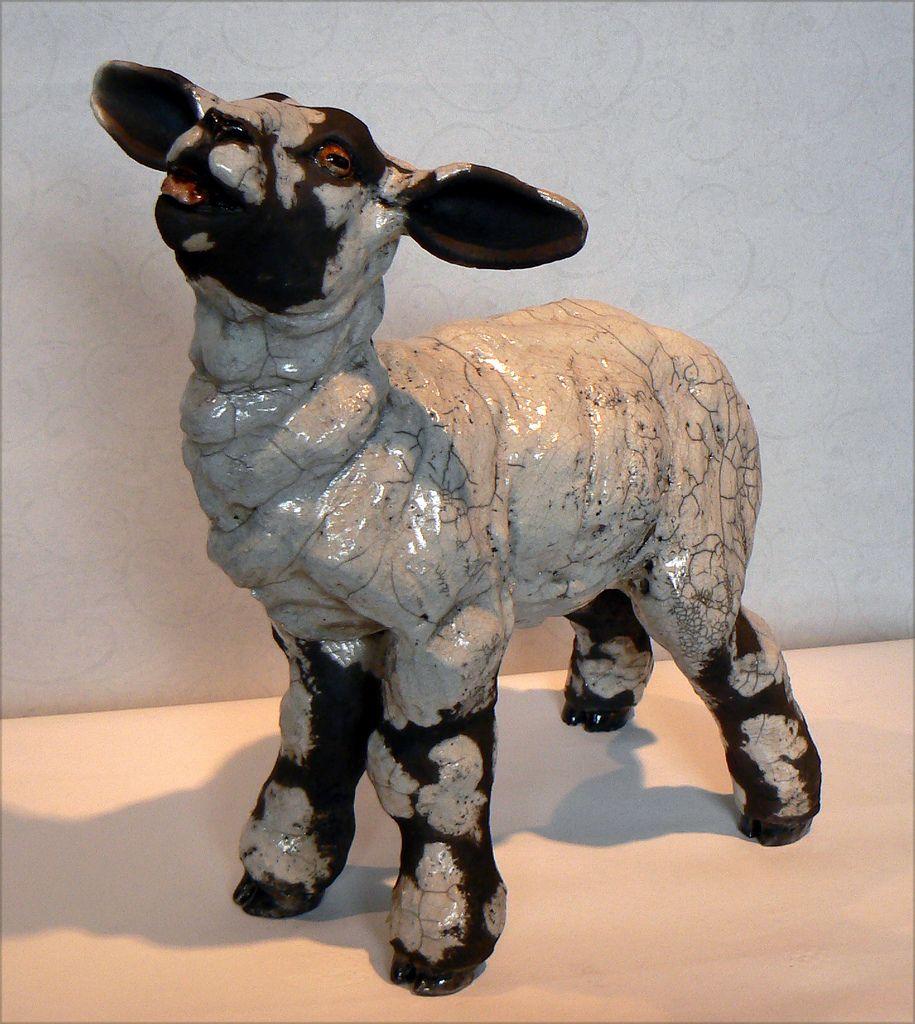 Lesley McKenzie; spring lamb - raku sculpture  