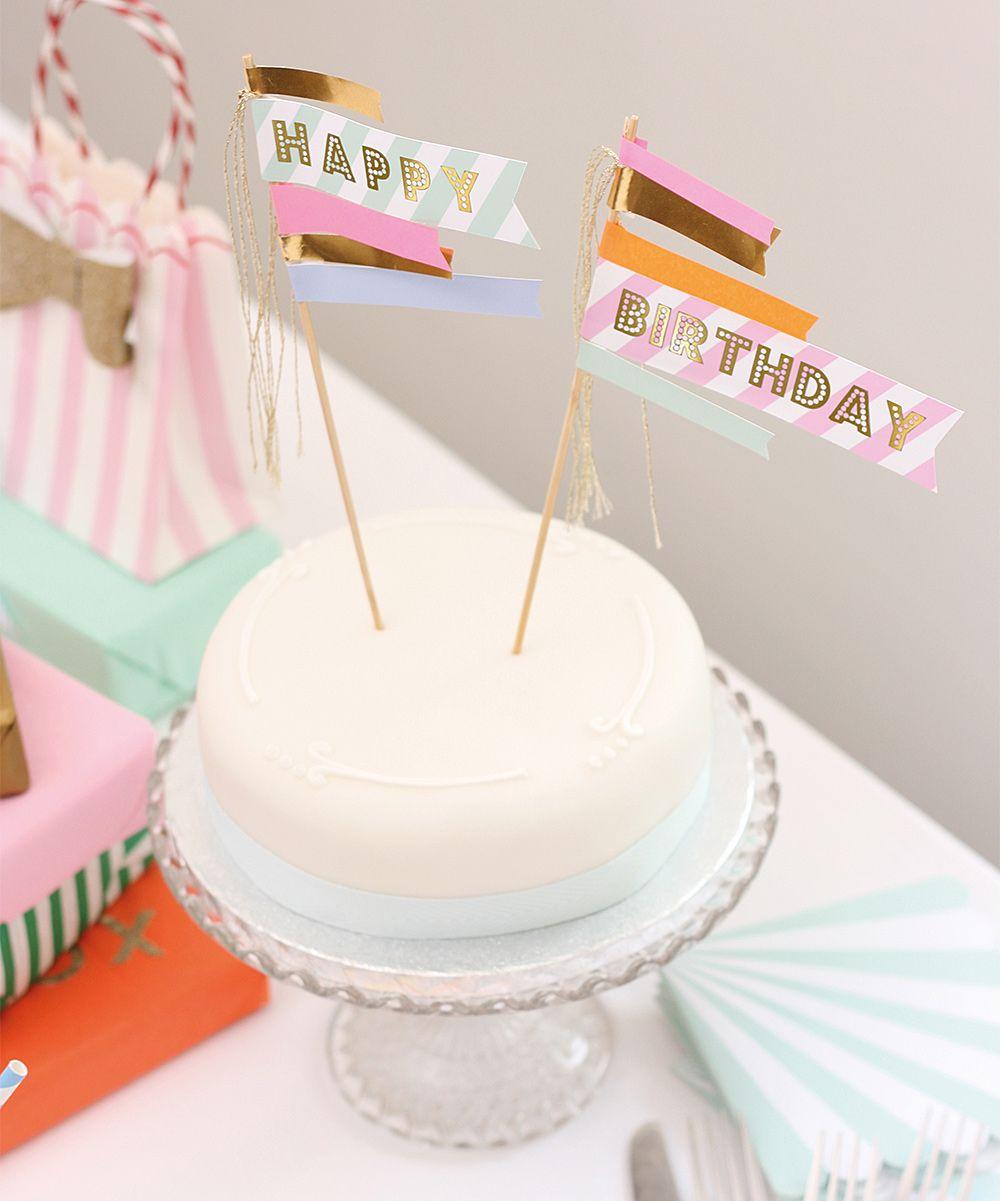 Happy Birthday Cake Flag Banderines Para Fiesta De Cumpleaos
