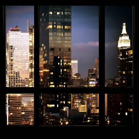 Photographic Print View From The Window Manhattan Night By Philippe Hugonnard 16x16in City View Night Window View City City View Apartment