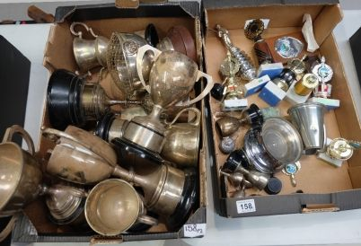 Top 25 Highest Selling Lots - Collectors & General Auction – Lot 158 – A good collection of silver( approx 1600 grams) and silver plate fishing trophies (2 trays).  Sale Price £450.00