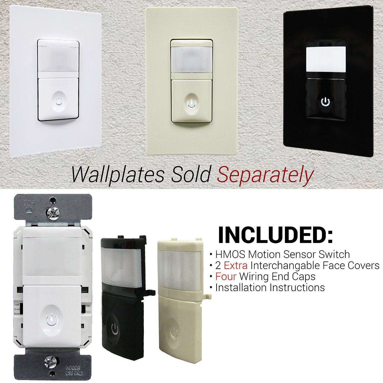 Enerlites Hmos Pir Occupancy Vacancy Motion Sensor Wall Switch Wiring Instructions Smart Led Night Light