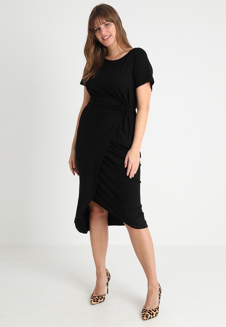 32416853db0791 Dorothy Perkins Curve RUCHED WRAP OVER DRESS - Etui-jurk - black - Zalando.