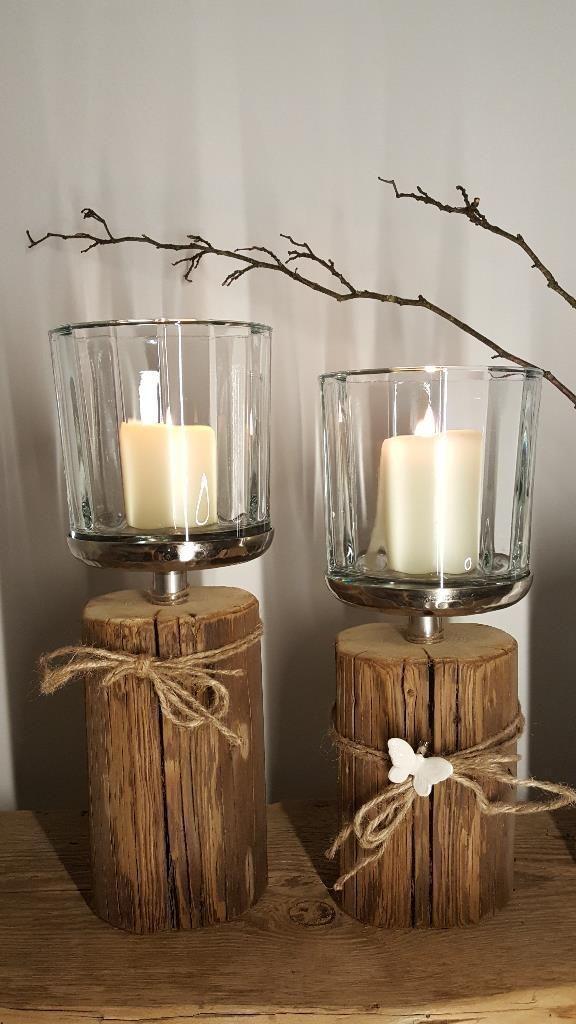 Kerzenleuchter Glas Holz Deko Windlicht Holzbalken