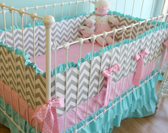 Love these colors and patterns for a baby girl.  Candy Chevron Custom Ruffle cribset by LottieDaBaby on Etsy, $425.00