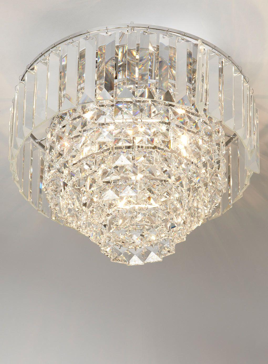 Bedroom Ceiling Lights Bhs : Chrome paladina crystal flush ceiling lights lighting
