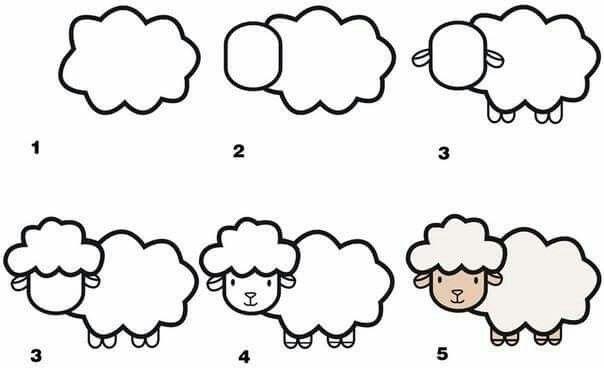 how to draw a sheep   Schaf zeichnen, Kinder zeichnen ...