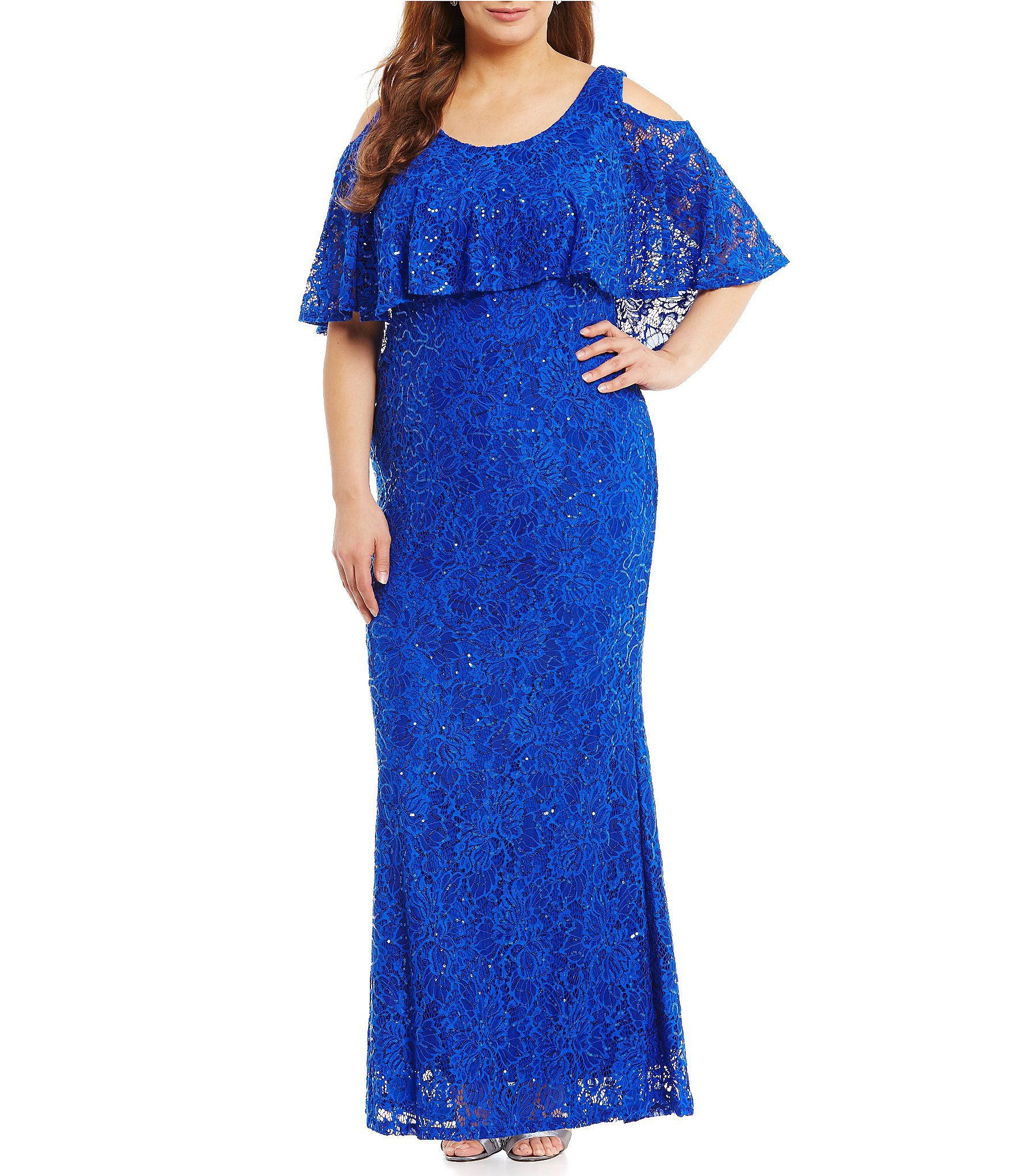 Marina Plus Cold-Shoulder Popover Lace Gown | Dillards, Cold ...