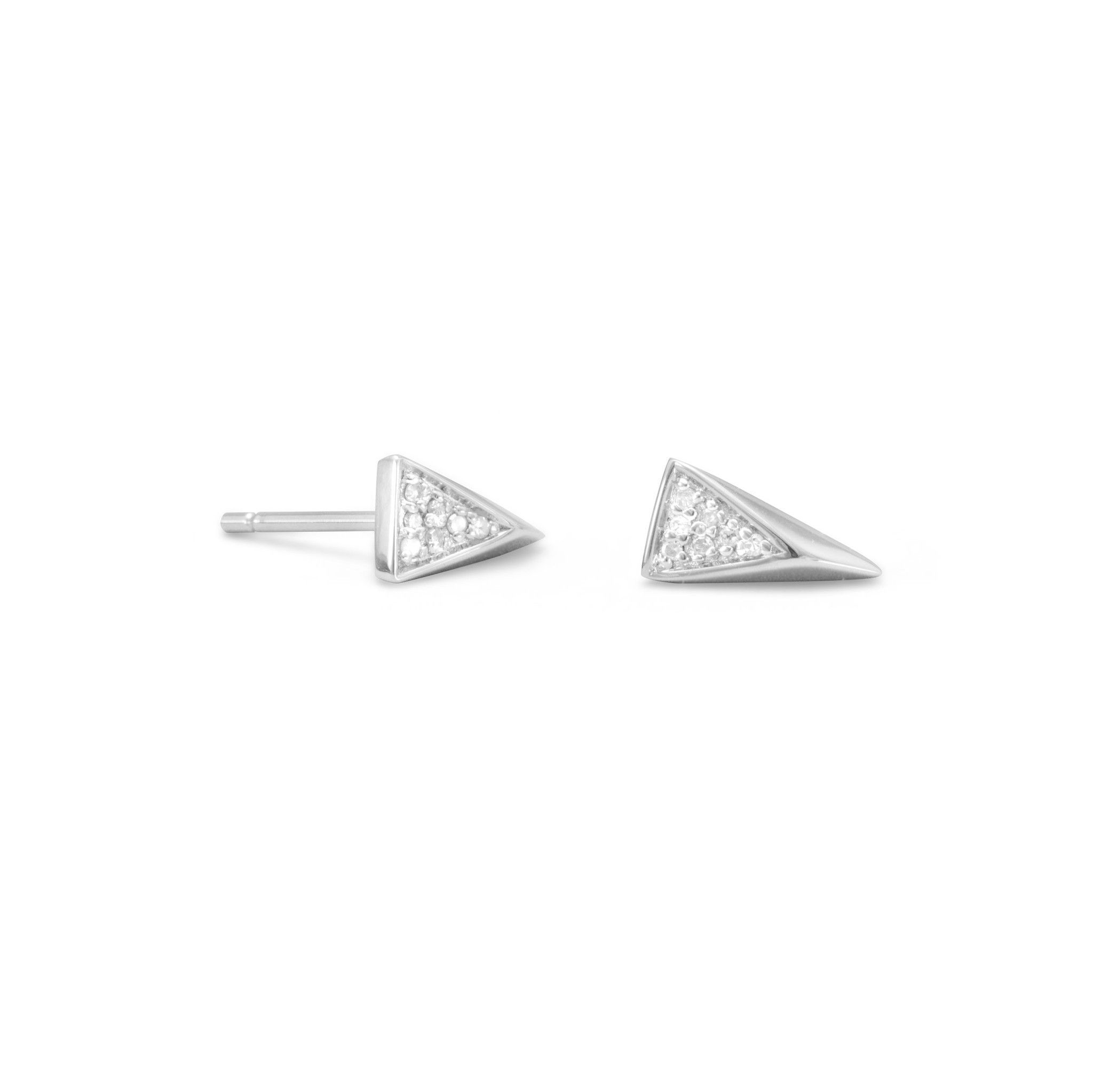 f020b8f0e Rhodium plated sterling silver small diamond triangle stud earrings, .04  ctw. Each triangle is approximately 5mm x 9.5mm with 7 I2 single cut  diamonds.
