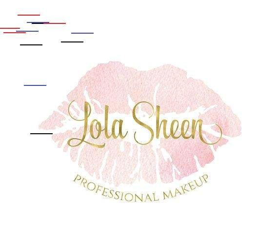 Photo of watercolor pink lipstick stain logo design premade gold beauty blog vegan natura…