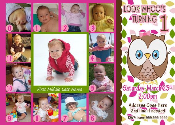 Look Whoos Turning one invitation - OWL invite Theme - Owl Birthday - invitation for 1st birthday party girl
