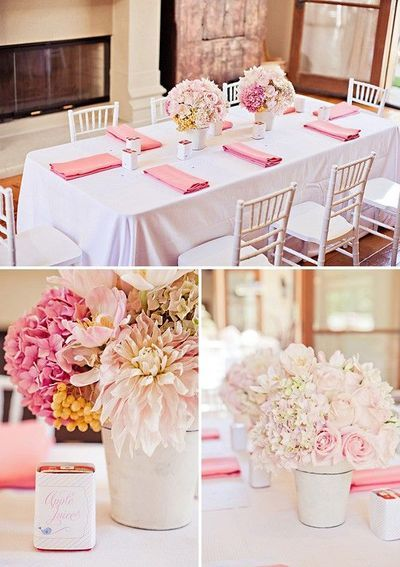 Simple Blush Pink Flower Arrangements White Table Cloth Covers And Darker Shade Pink Napkins Bridal Shower Tables Blush Pink Baby Shower Baby Shower