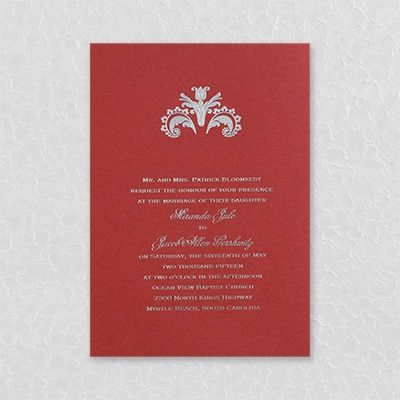 Ambrosia - Invitation - Claret Shimmer. Available at Persnickety Invitation Studio.