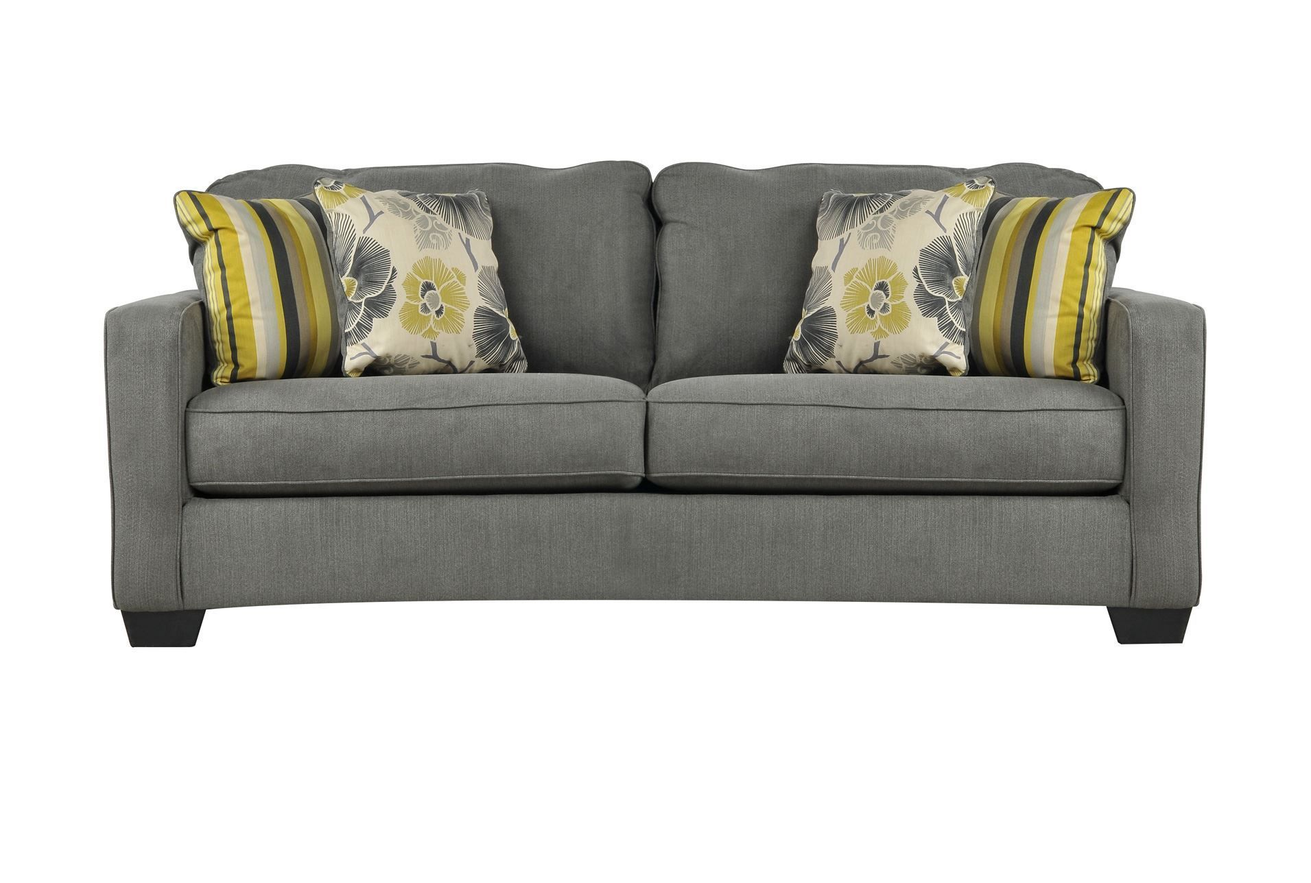 Safia Slate Sofa   Available At Living Spaces Www.livingspaces.com I Think  Itu0027s Around $300? (not Positive. . .) But I Just Love The Grey With The  Yellow In ...