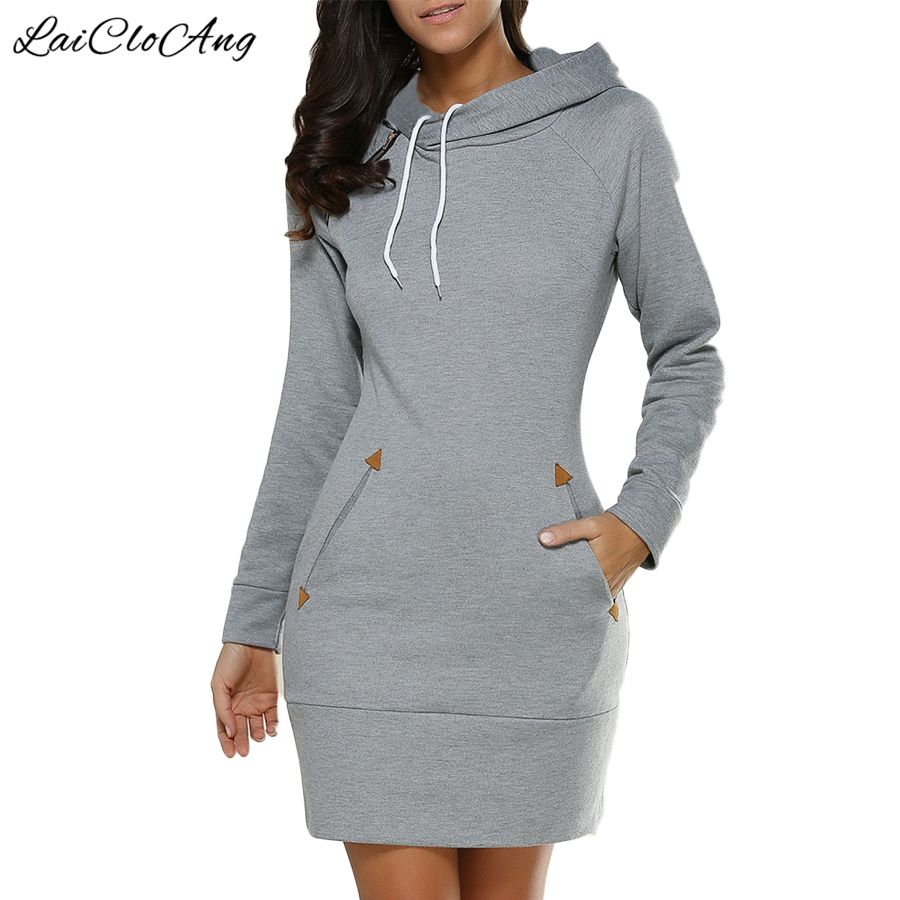Female autumn solid fashion oneck women pullover hoodies dresses