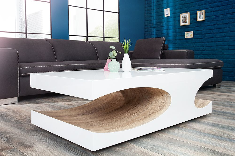 Edler Couchtisch Cube 120cm Hochglanz Weiss Sonoma Eiche Coffee Table Elegant Coffee Table Coffee Table Design Modern