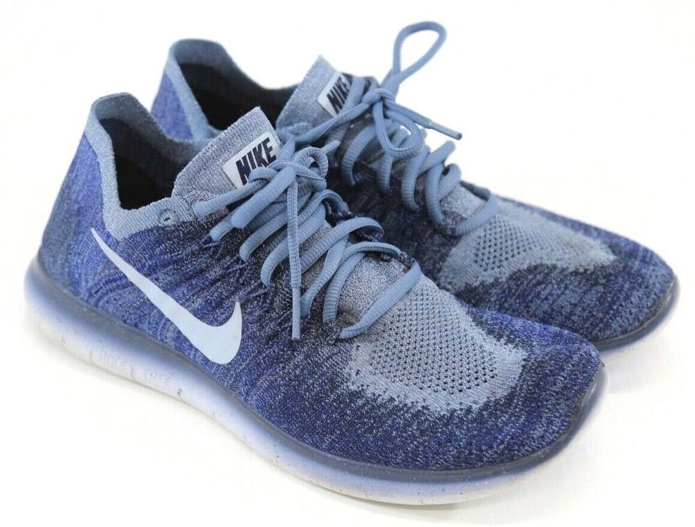 premium selection 7127d 1652b Nike Women's Free RN Flyknit Blue Athletic Running Shoes ...