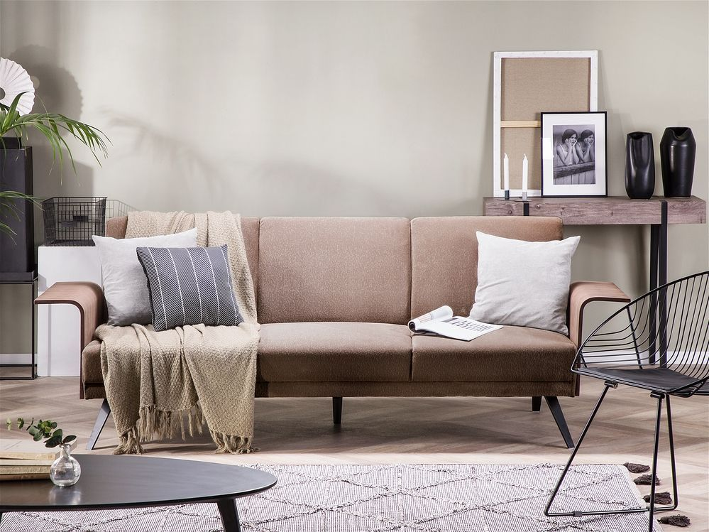 Canape Convertible 3 Places Marron Clair Halti In 2020 Sofa Bed