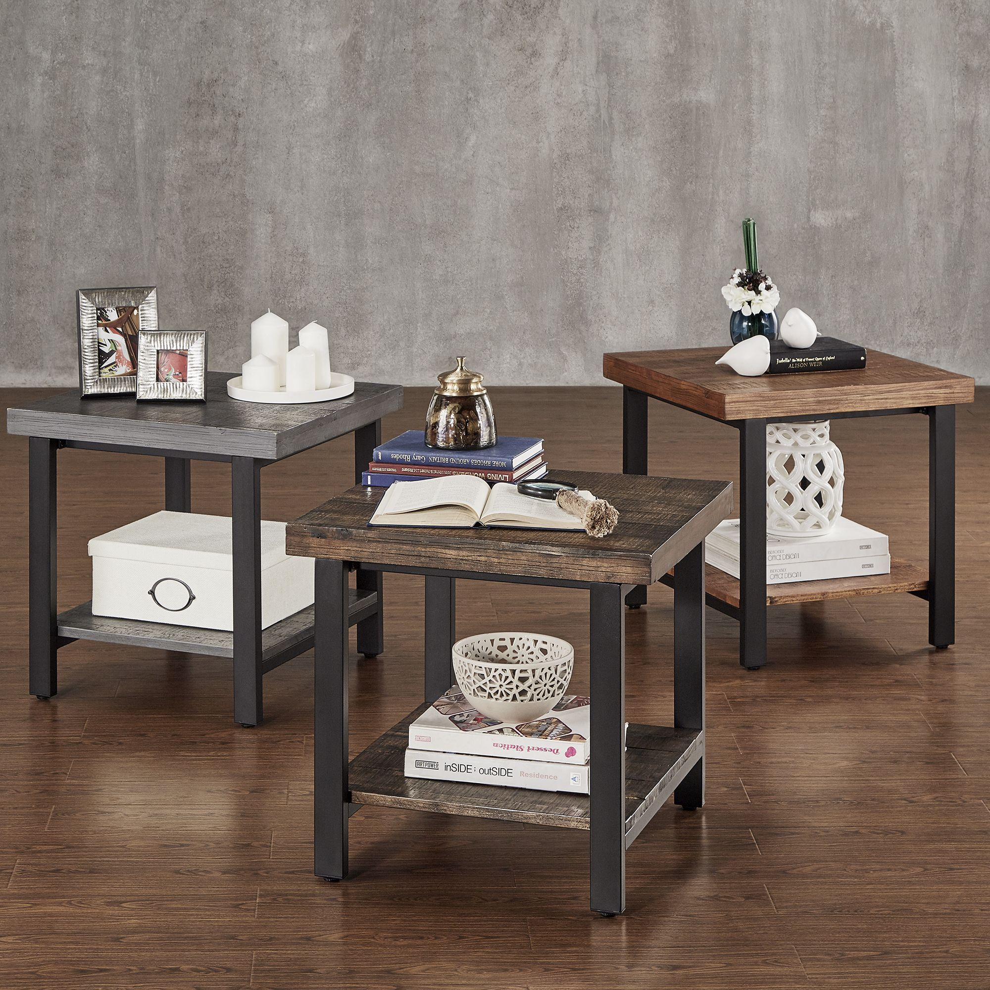Cyra Industrial Reclaimed Accent End Table by iNSPIRE Q Classic by iNSPIRE Q.  Living Room ...