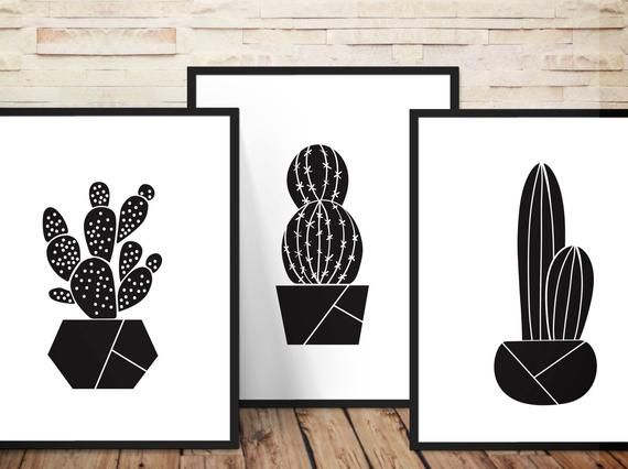 75% off: Cactus Wall Art Set of 3, Geometric Plant Vase, Succulent plants, Trendy Cactus Decor 8x10, 16x20 or request size of your choice
