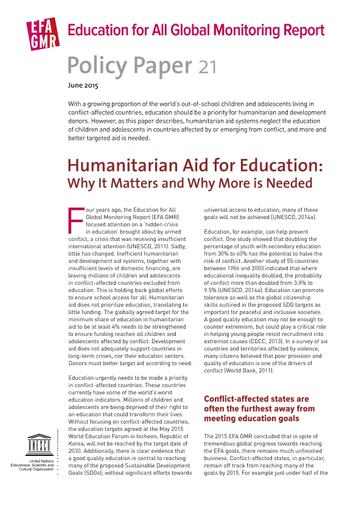 UNESCO 2015c  Humanitarian Aid for Education: Why It Matters