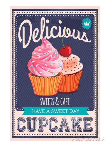 Vector Cupcakes Poster Poster - AllPosters.at | Cupcakes | Pinterest
