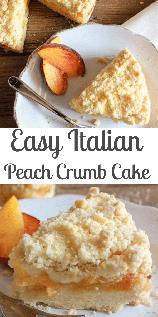 Italian Peach Crumb Cake, made with fresh or canned Peaches, a deliciously buttery crumb bottom and topping, filled with a simple Peach filling. This Crumb Cake is the perfect anytime Dessert!