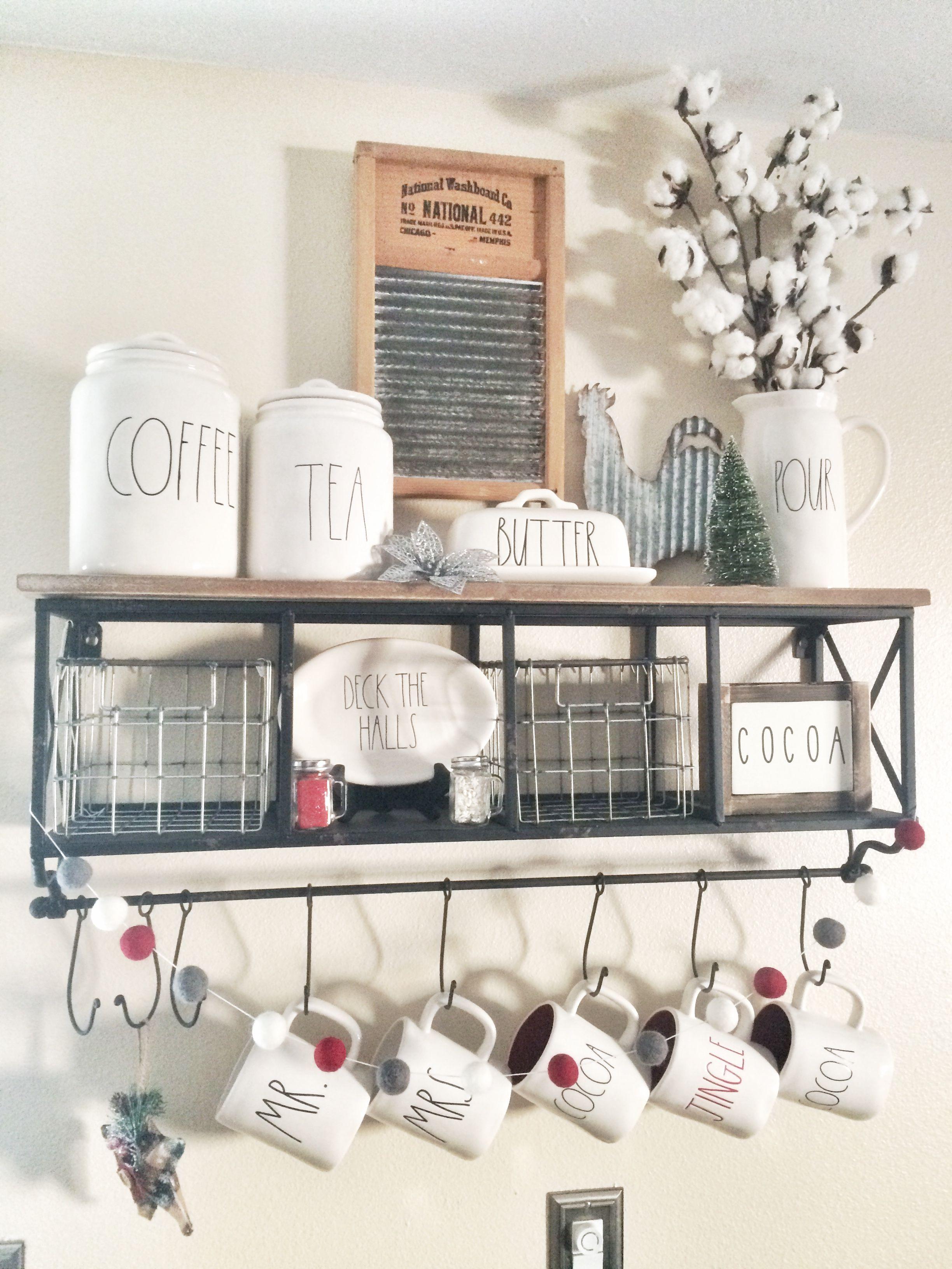 rustic farmhouse rae dunn coffee bar with hobby lobby shelf