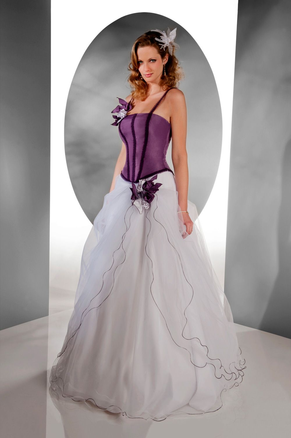Purple And White Bridesmaid Dress