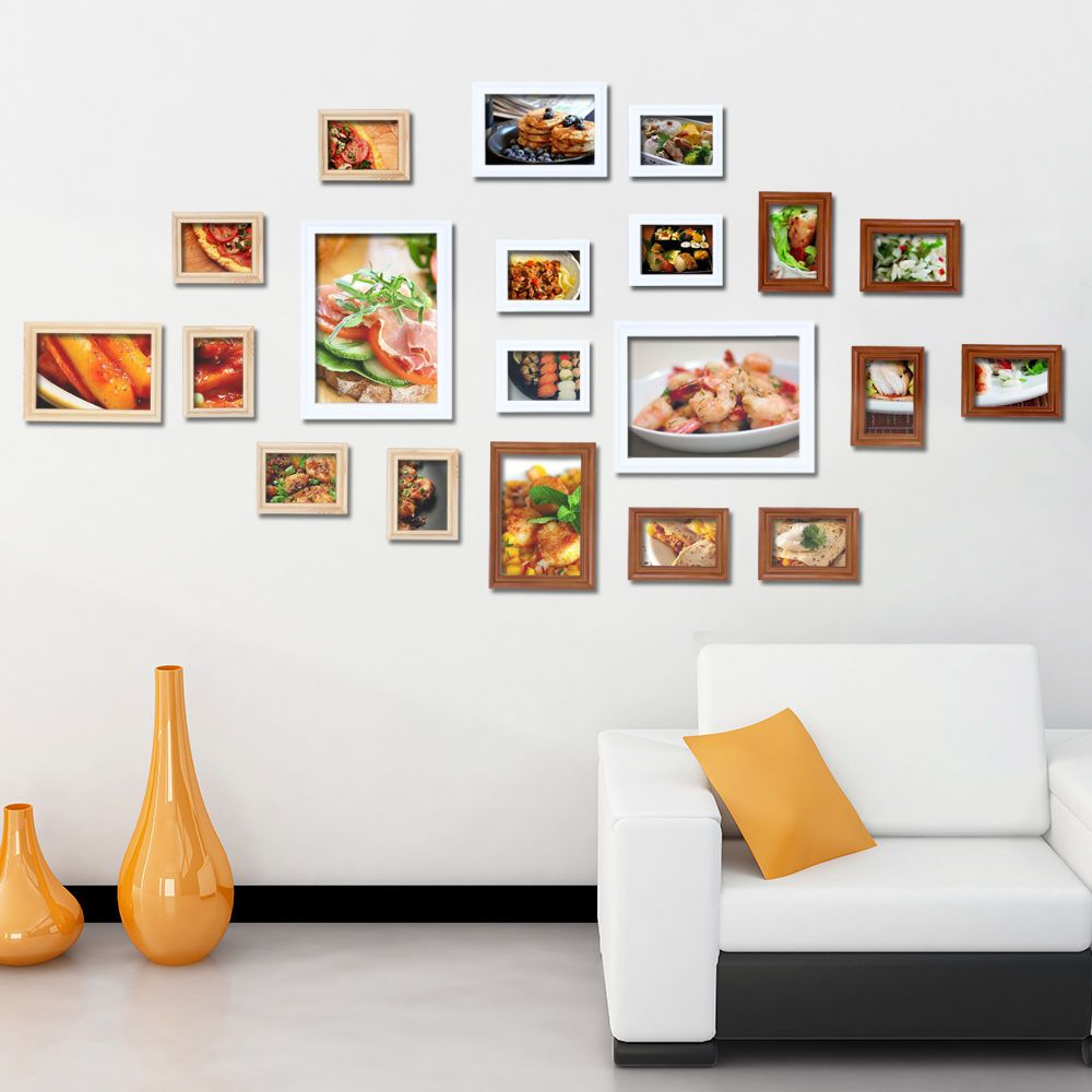 Multi Frame Wall Art details about 20 pcs square photo wood frames wall mounted set 3