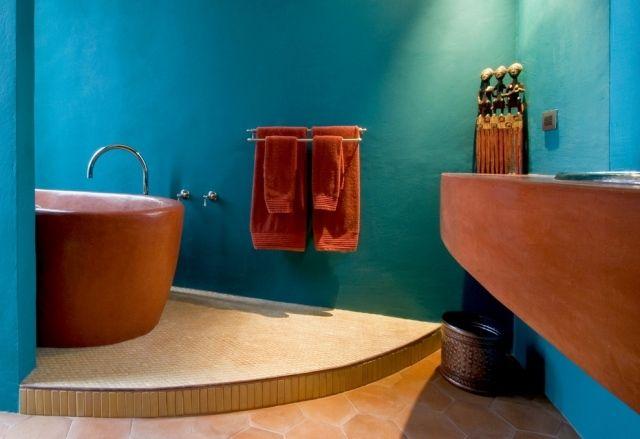 Außergewöhnlich Mediterrane Farben Badezimmer Türkis Wand Badmöbel Terracotta Farbe.