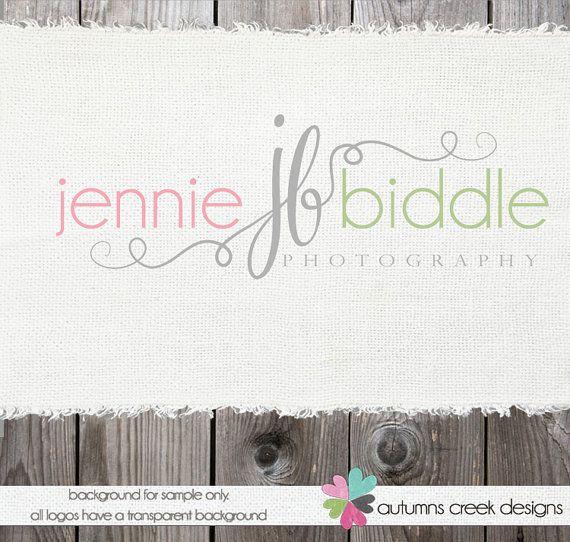 Custom Premade Photography Logo - Swirls and Initials Logo and Watermark Design Name Text Logo. $40.00, via Etsy.