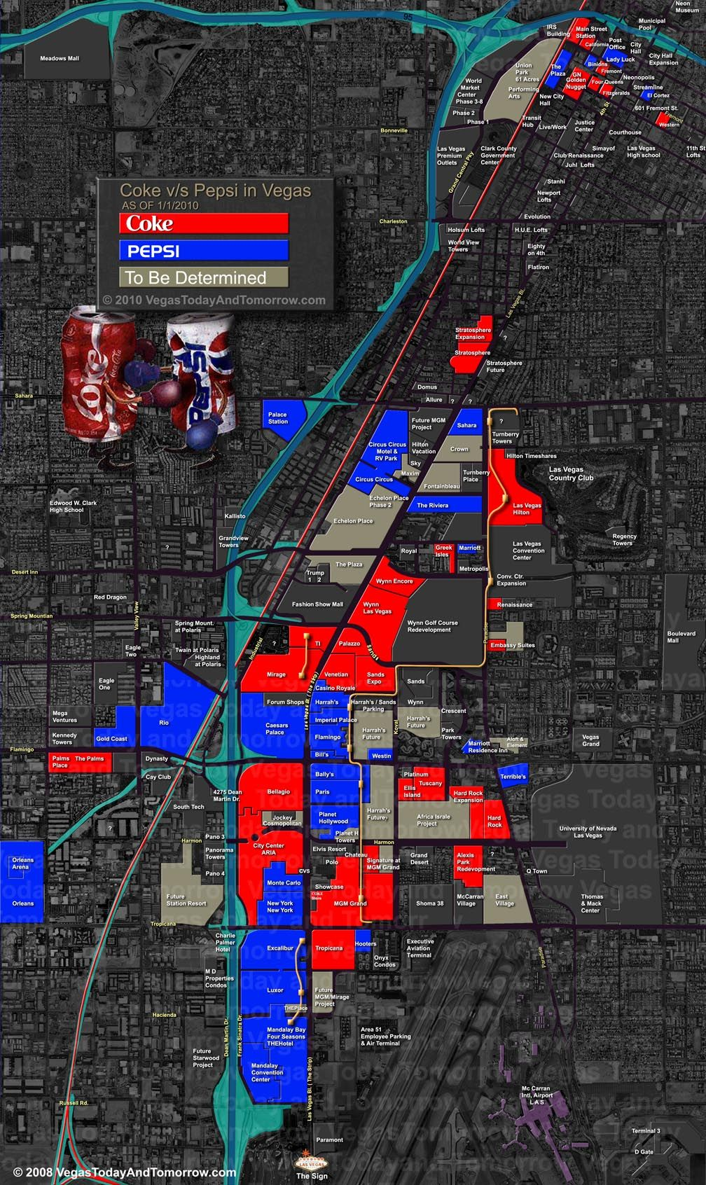 vegas coke or pepsi map vegas maps and pepsi vegas coke or pepsi map