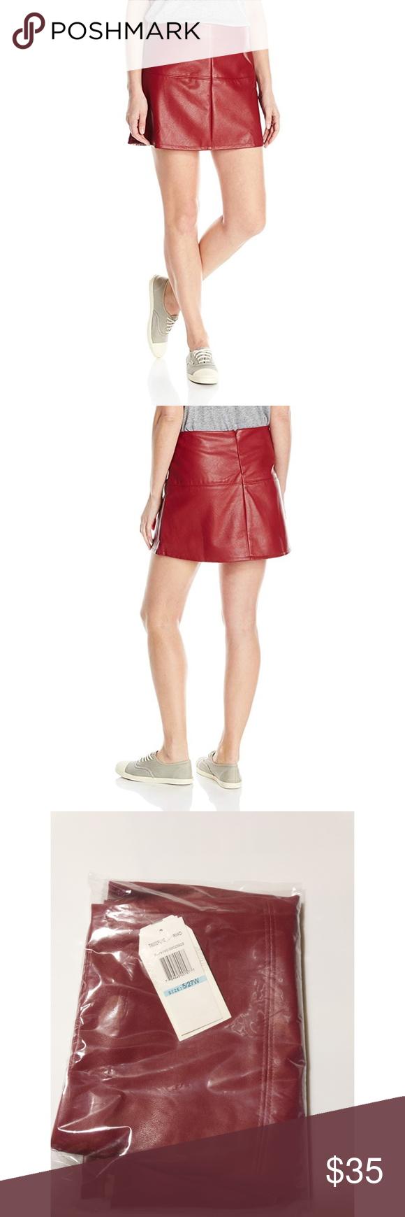 7cc2278f6 Jolt Womans egan Leather Mini Short Seam Skirt NWT Jolt Womans Size 5  Redwood Red Vegan