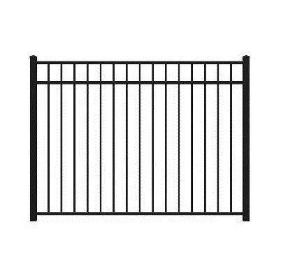 Shop Barrette 54 X 72 Flat Top 3 Rail Black Aluminum Fence Panel