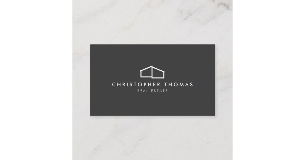 Modern Home Logo Real Estate, Realtor Dark Gray Business Card is part of Modern home Logo - This classic business card template features an elegant, yet simple modern home logo to help brand your real estate business or personal brand  Perfect for realtors, builders, contractors and more  This design is part of a series of coordinating office supplies to help brand your business  Original art and design © 1201AM Design Studio   www 1201am com