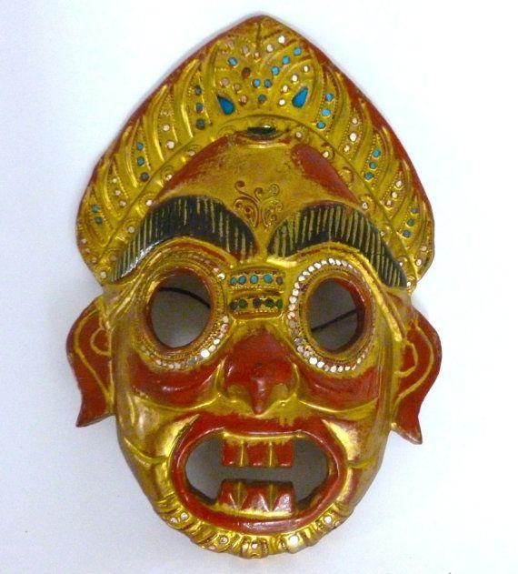 Mid Century Wood Thailand Ceremonial Mask Thai Asia Asian Vintage ...