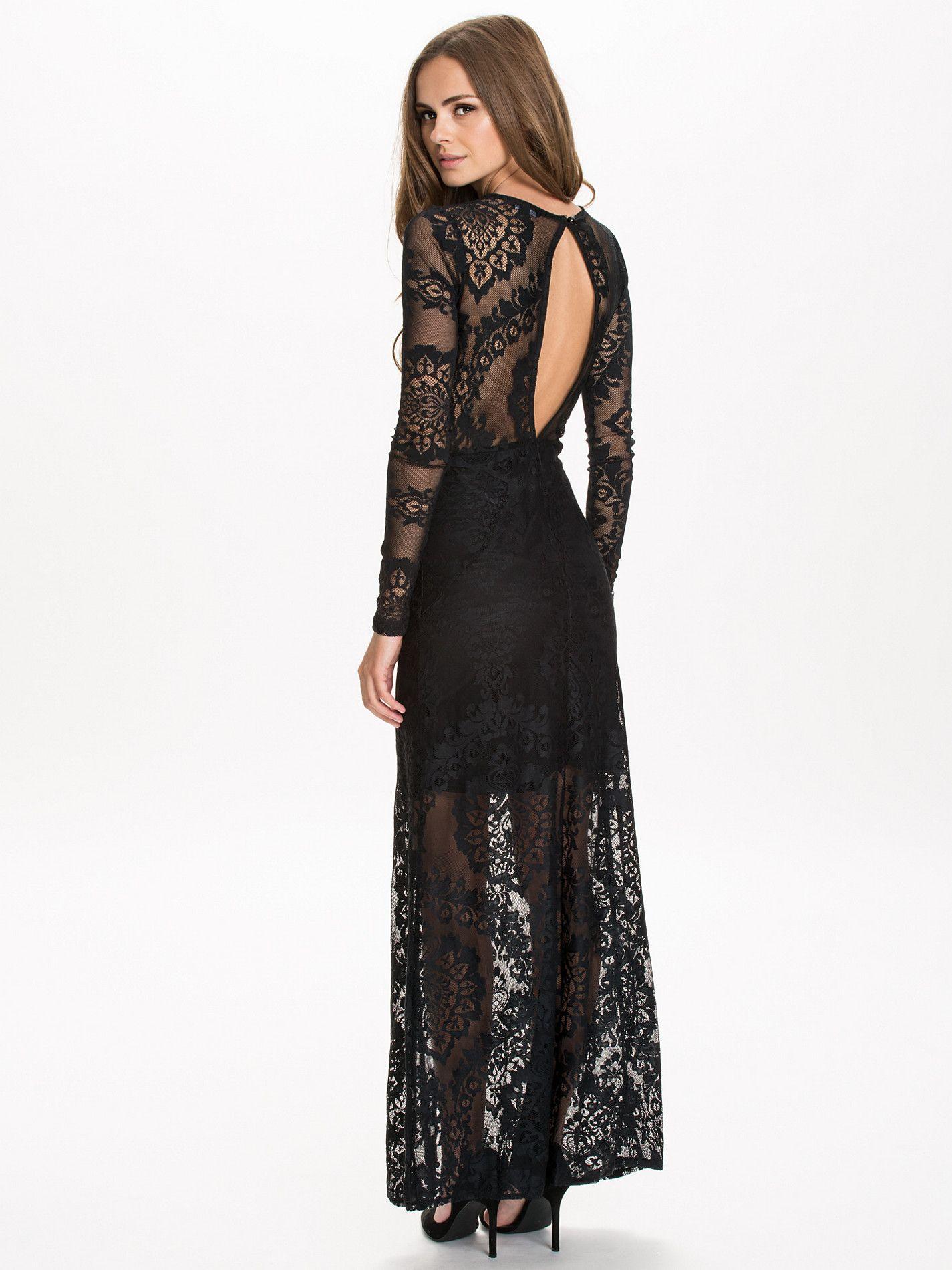 Robe de soirée Nelly.com, achat pas cher Ls Lace Maxi Miss Selfridge Noir