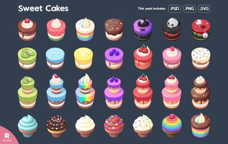 Sweet Cakes Icon Pack 2d Icons Unity Asset Store Cake Icon Sweet Cakes Cake Art