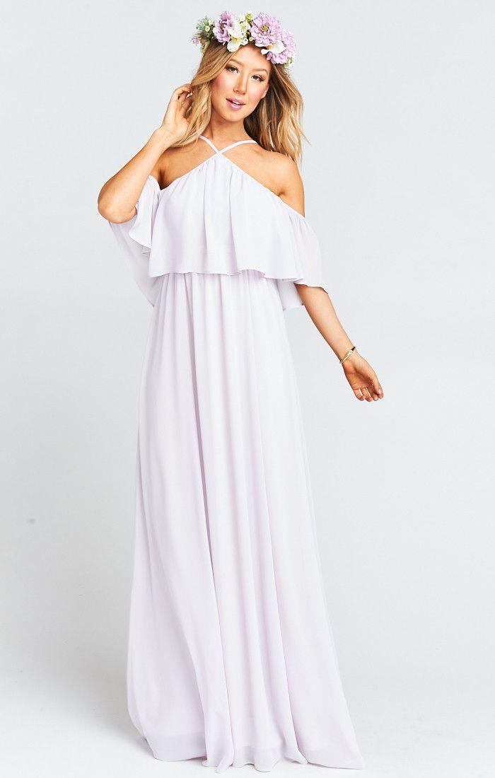 Rebecca Ruffle Maxi Dress ~ Light Lavender Chiffon | Ruffles, Boho ...