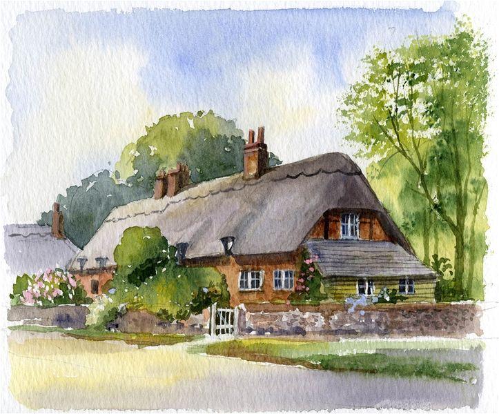 Terry harrison cottage art pinterest watercolor for Watercolor cottages
