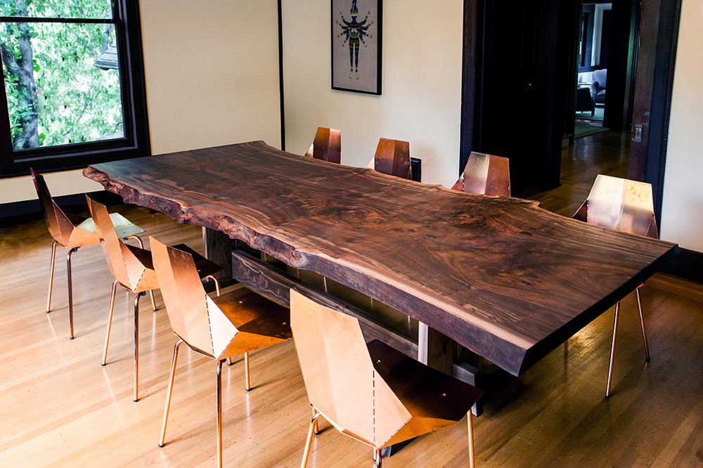 Live edge pine slabs google search table ideas for Large dark wood dining table