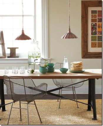 Rustic Table With Bertoia Chairs Nice Ideas